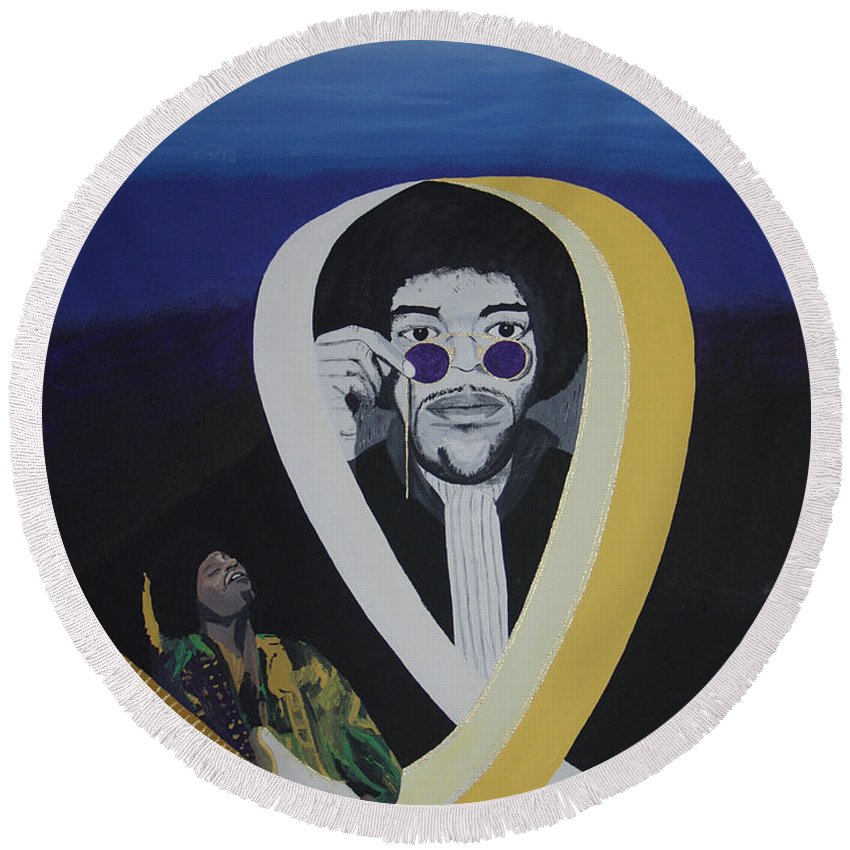 Memorable Round Beach Towel featuring the painting Beyond The Haze by Dean Stephens