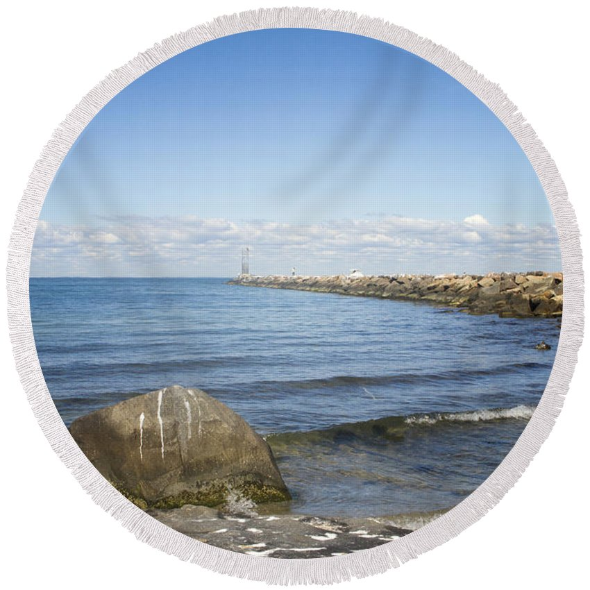 Jette Round Beach Towel featuring the photograph Beyond The Sea by A New Focus Photography
