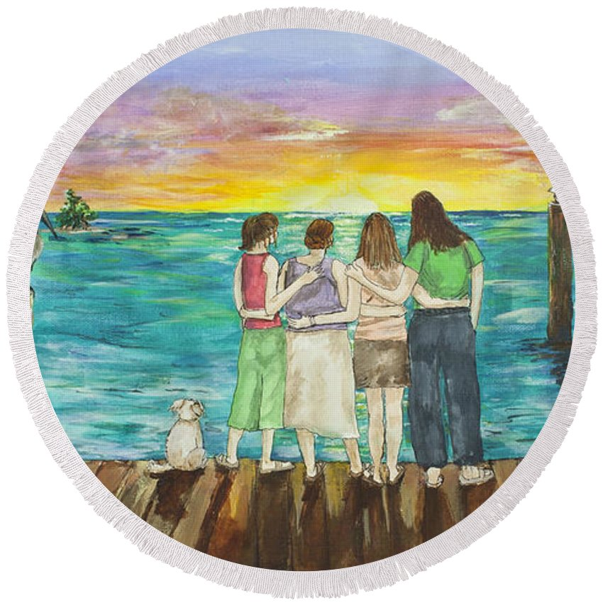 Florida Round Beach Towel featuring the painting Bff Morning by Janis Lee Colon