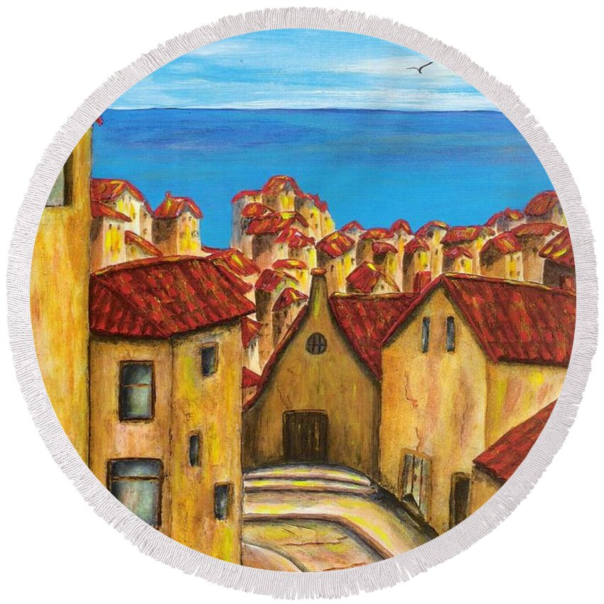 Pamela Allegretto Round Beach Towel featuring the painting Biagi In Tuscany by Pamela Allegretto
