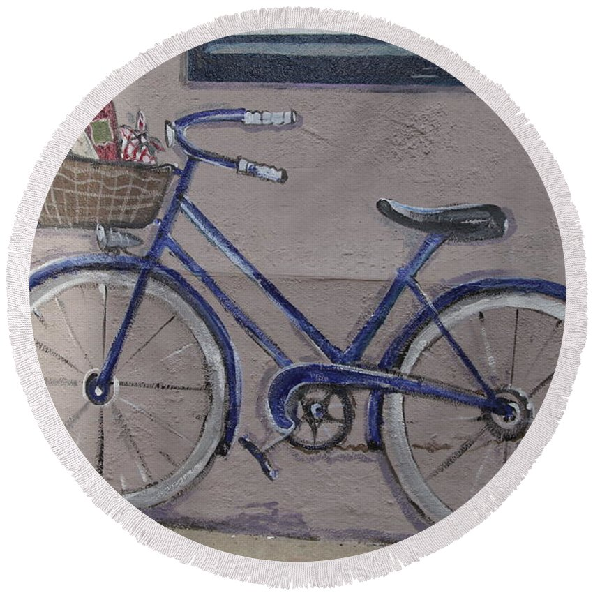 Bike Round Beach Towel featuring the photograph Bicycle Leaning On A Wall by Michael French