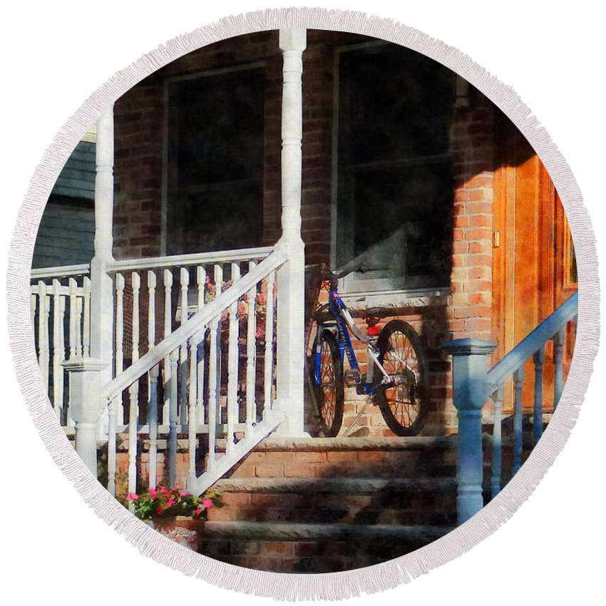 Bicycle Round Beach Towel featuring the photograph Bicycle On Porch by Susan Savad