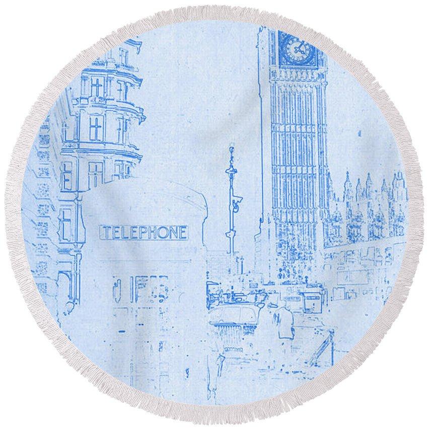 Big ben in london blueprint drawing round beach towel for sale by big ben in london blueprint drawing round beach towel featuring the digital art big ben malvernweather Choice Image