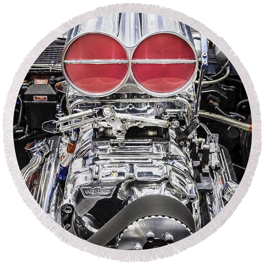 V8 Round Beach Towel featuring the photograph Big Big Block V8 Motor by Rich Franco