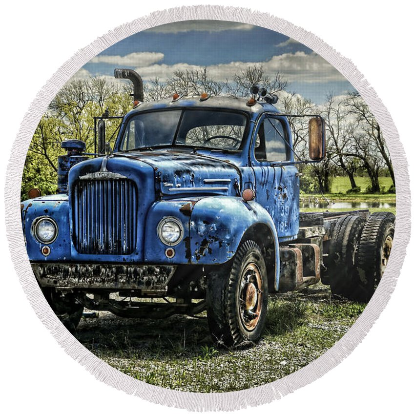 1958 Round Beach Towel featuring the photograph Big Blue Mack by Ken Smith