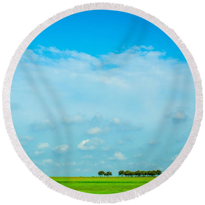 Landscape Round Beach Towel featuring the photograph Big Blue Texas Sky by Melinda Ledsome