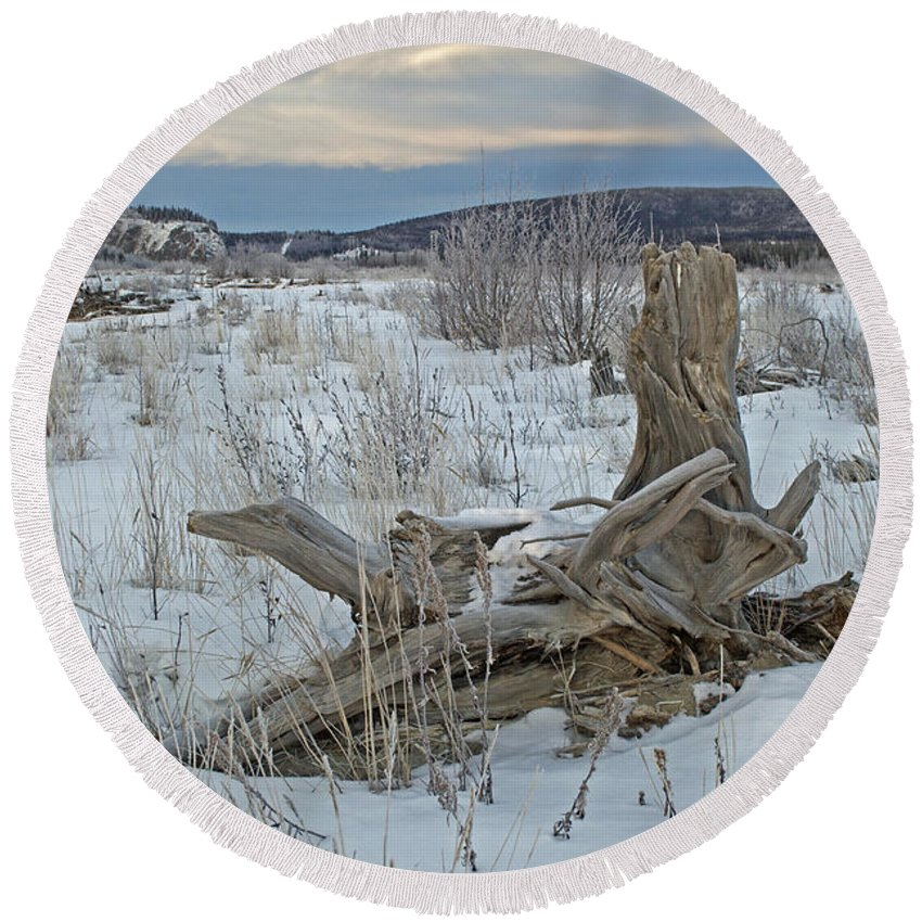 Delta River Round Beach Towel featuring the photograph Big Delta Riverbed by Cathy Mahnke