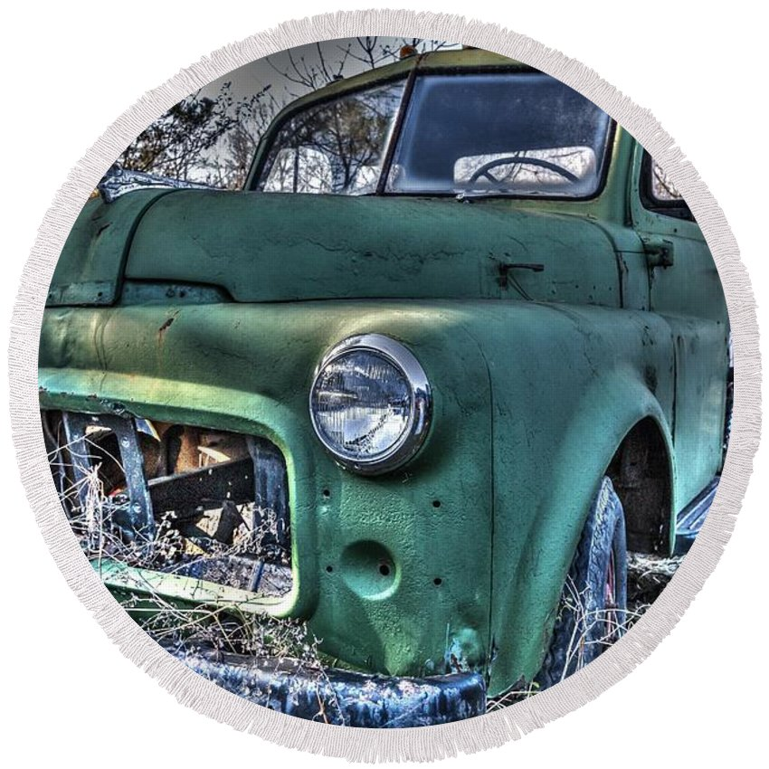 Antique Round Beach Towel featuring the photograph Big Green by Anthony Hughes