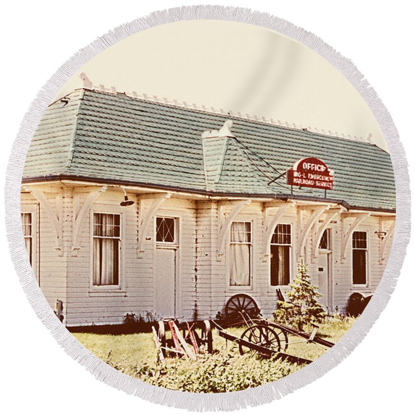 Big L Round Beach Towel featuring the photograph Big L Railroad Station by Marilyn Hunt