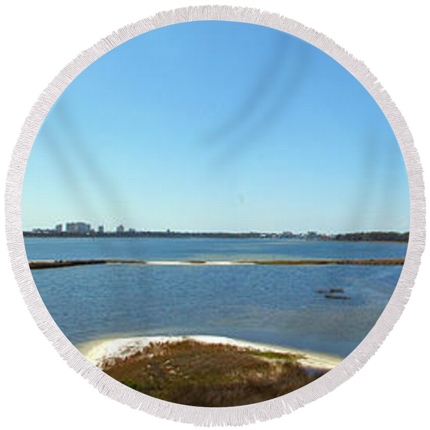 Big Lagoon Round Beach Towel featuring the photograph Big Lagoon 1 by Nancy L Marshall