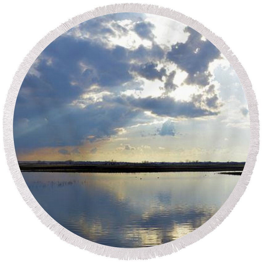 Marsh Round Beach Towel featuring the photograph Big Marsh Sunset by Bonfire Photography