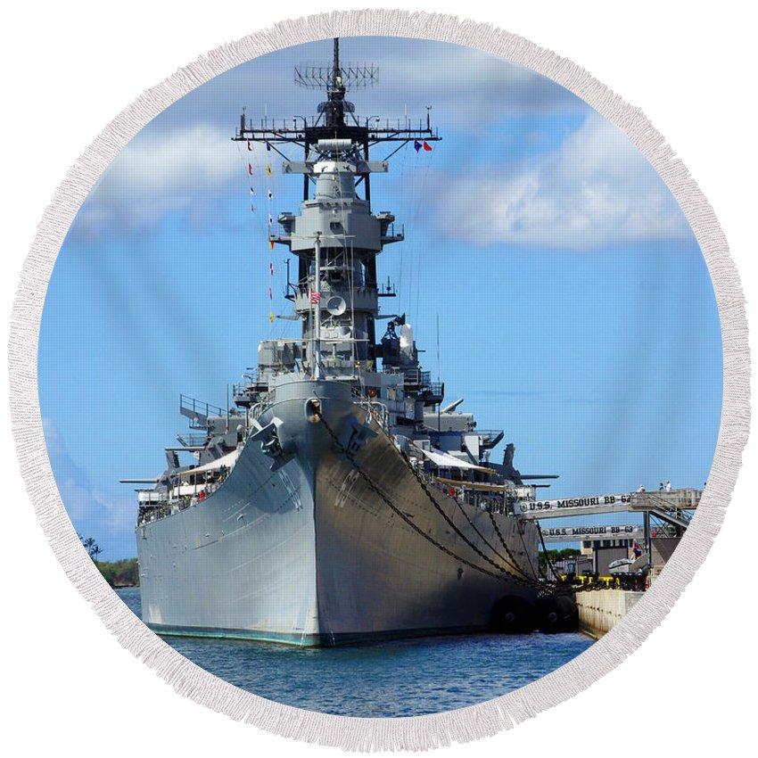 Battleship Round Beach Towel featuring the photograph Big Mo by John Dauer