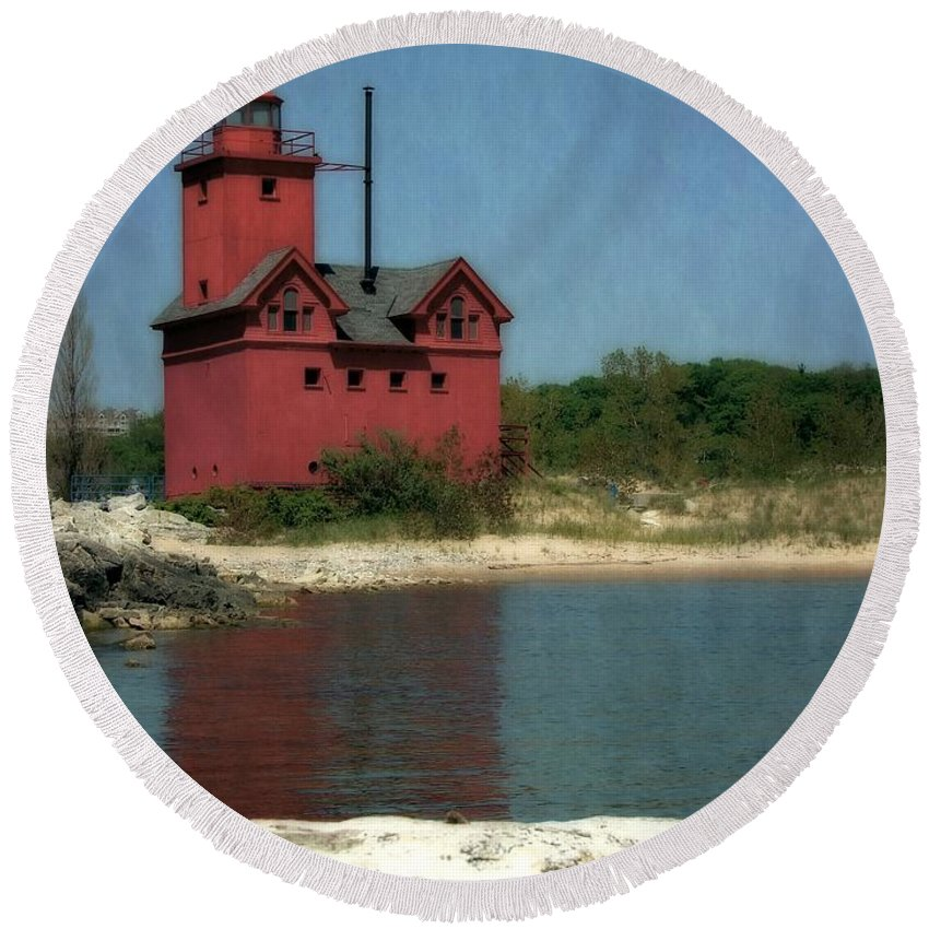 Michigan Round Beach Towel featuring the photograph Big Red Holland Michigan Lighthouse by Michelle Calkins