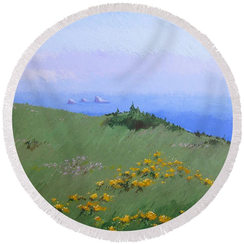 Landscape Round Beach Towel featuring the painting Big Sur by Hunter Jay