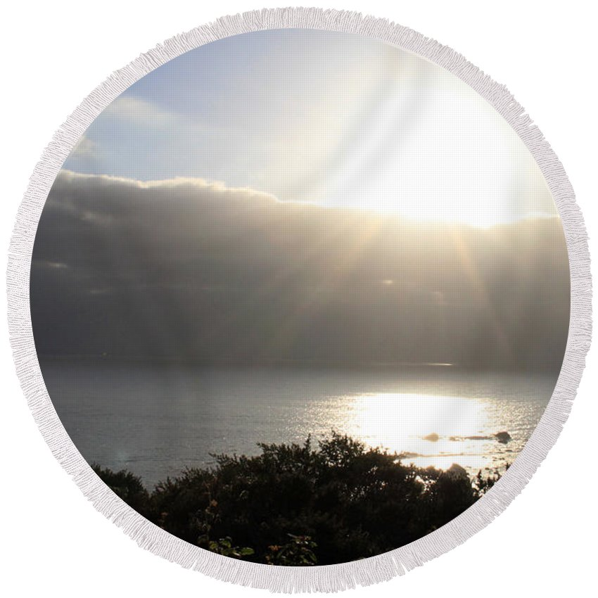 Sunset Round Beach Towel featuring the photograph Big Sur Sunset by Linda Woods