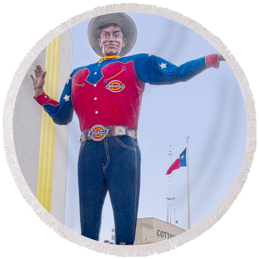 Dallas Round Beach Towel featuring the photograph Big Tex And The Cotton Bowl by David and Carol Kelly
