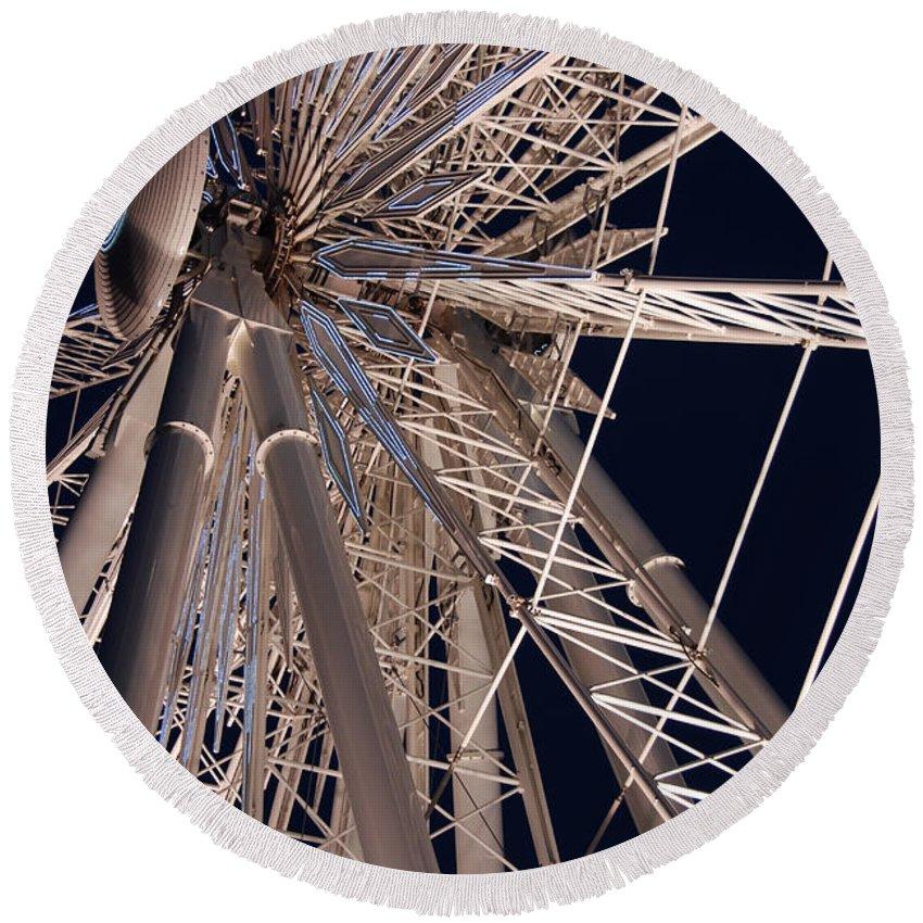 Ferris Wheels Round Beach Towel featuring the photograph Big Wheel by John Schneider