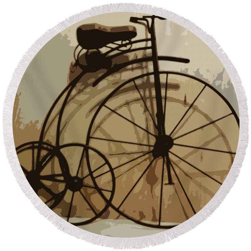Bicycle Round Beach Towel featuring the photograph Big Wheel Trike by Ecinja Art Works