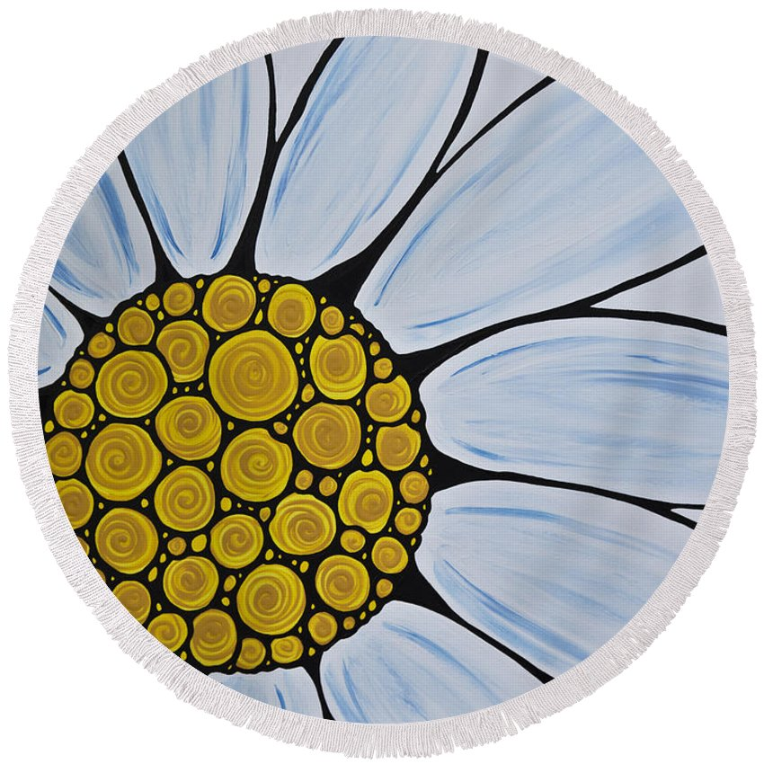 White Daisy Round Beach Towel featuring the painting Big White Daisy by Sharon Cummings