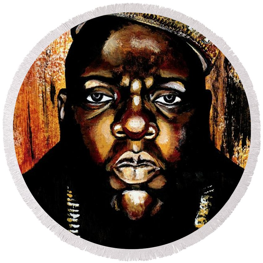 Music Round Beach Towel featuring the photograph Biggie by Artist RiA