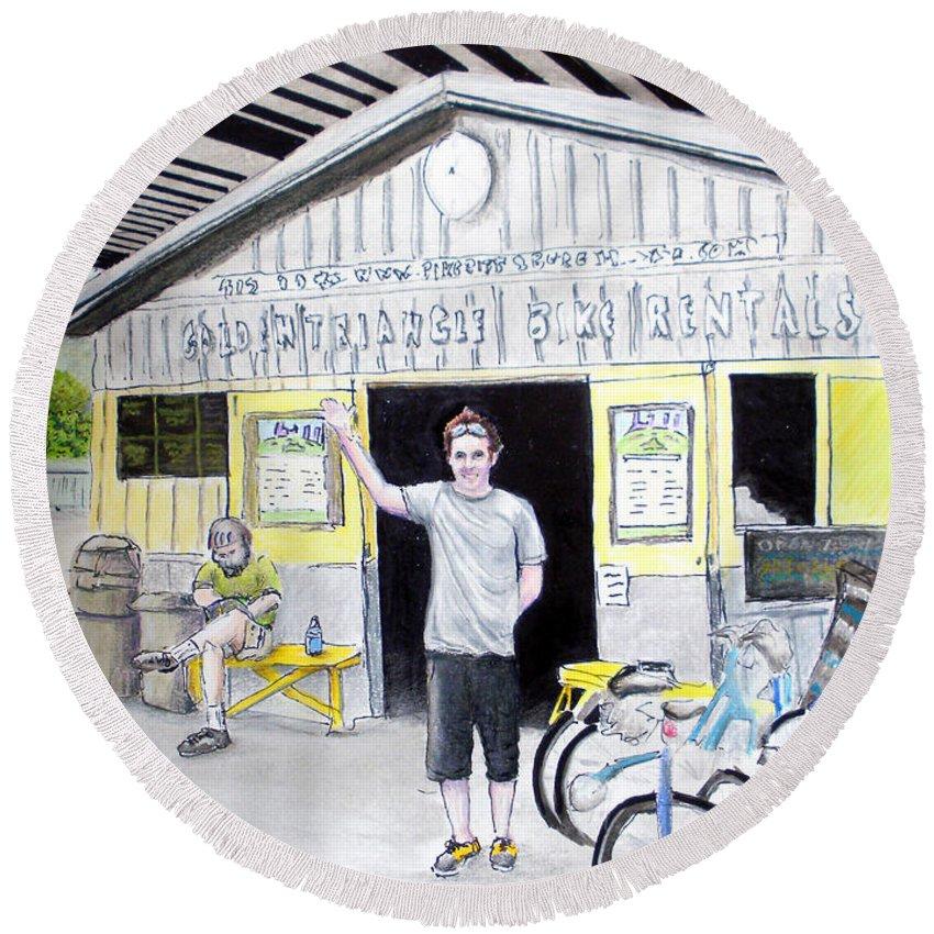 Bike Round Beach Towel featuring the drawing Bike Pittsburgh by Albert Puskaric