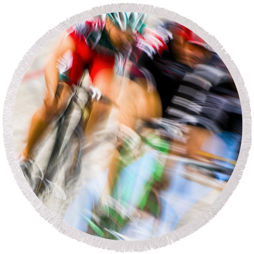 Transportation Round Beach Towel featuring the photograph Bike Race I by Joe Mamer