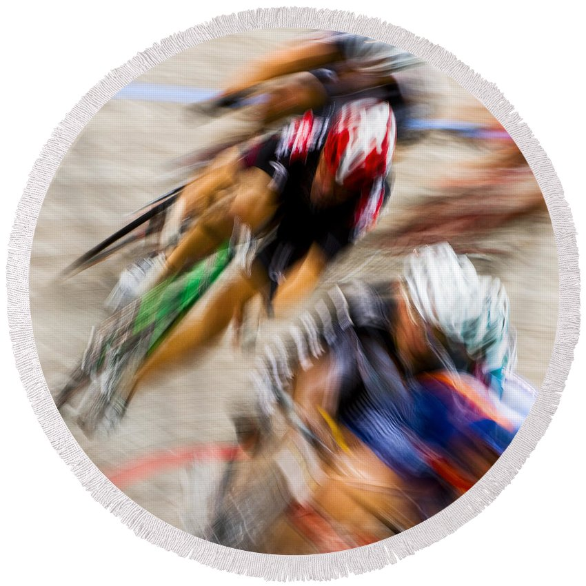 Transportation Round Beach Towel featuring the photograph Bike Race II by Joe Mamer