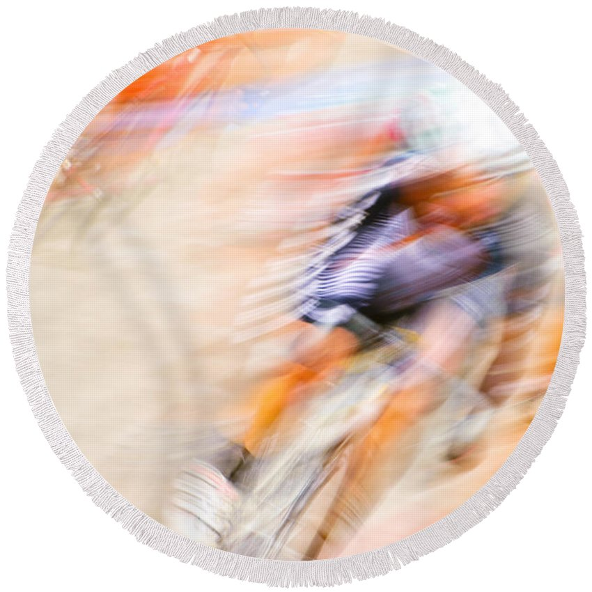 Transportation Round Beach Towel featuring the photograph Bike Race Iv by Joe Mamer
