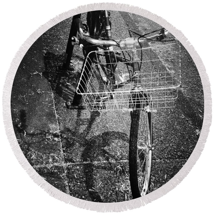 Street Photography Round Beach Towel featuring the photograph Bike Ride Friend by The Artist Project