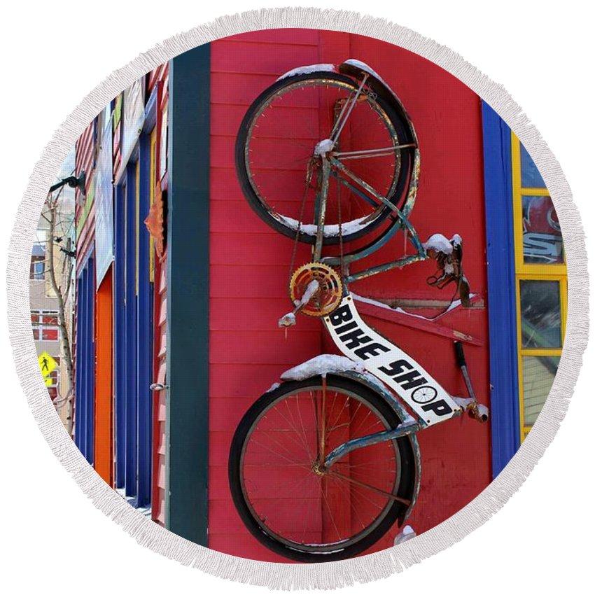 Bike Round Beach Towel featuring the photograph Bike Shop by Fiona Kennard