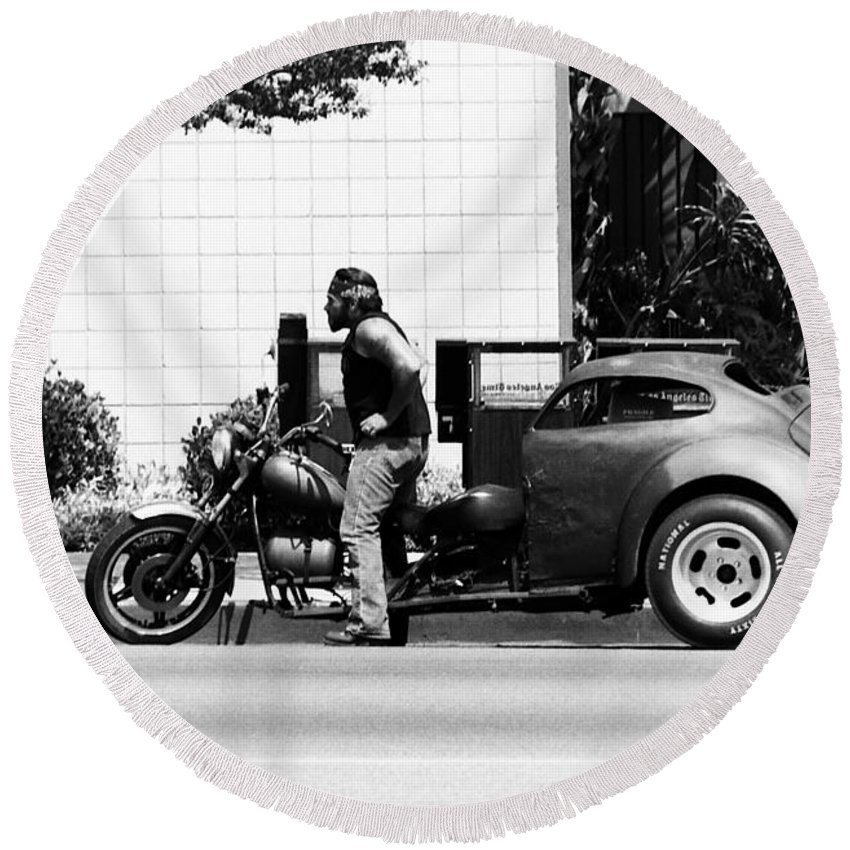 Motorcycles Round Beach Towel featuring the photograph Biker by Karl Rose