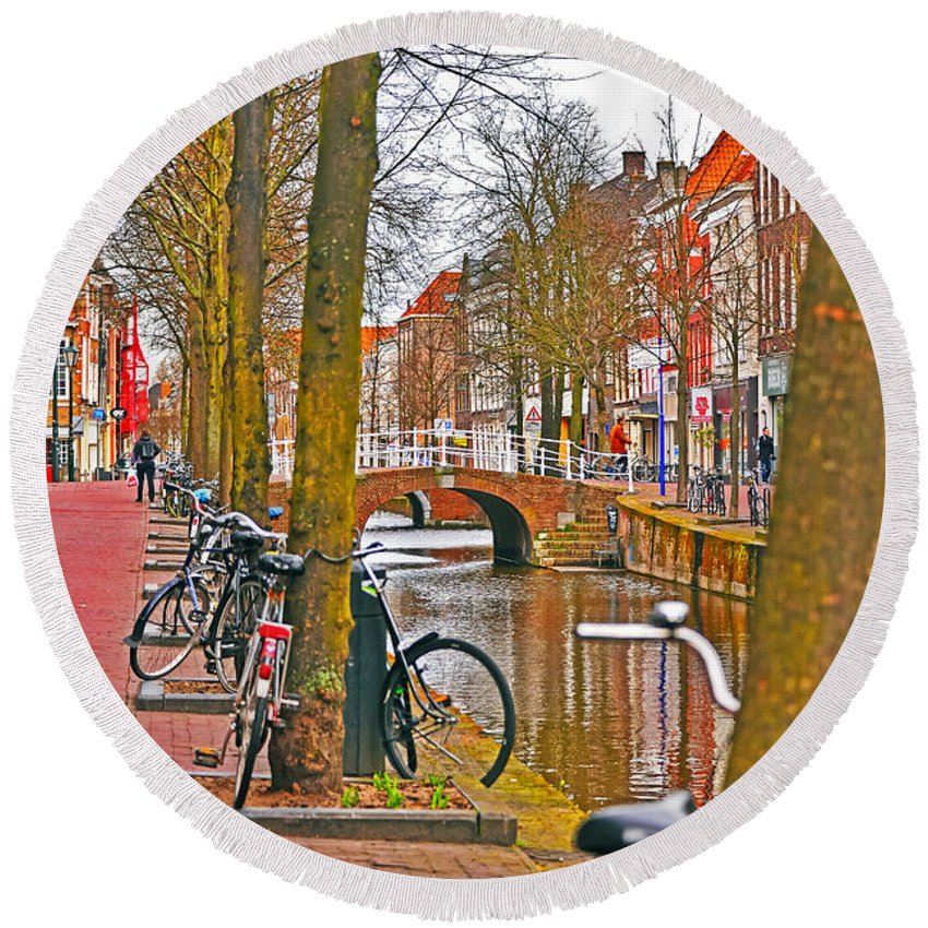 Travel Round Beach Towel featuring the photograph Bikes And Canals by Elvis Vaughn