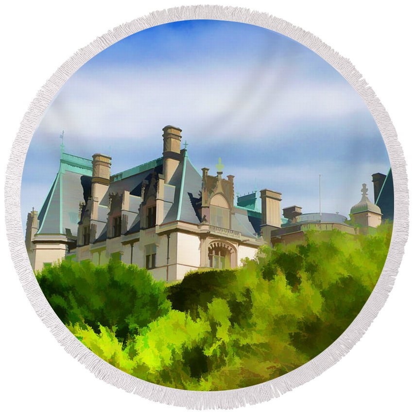Biltmore Mansion Castle Scenic View Round Beach Towel featuring the photograph Biltmore In The Distance by Alice Gipson