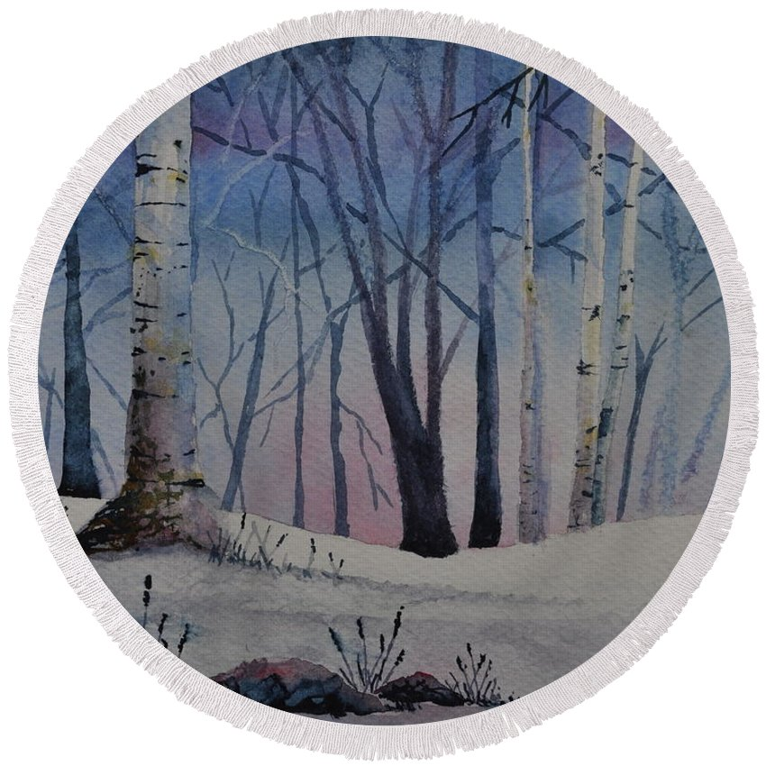 Birches Round Beach Towel featuring the painting Birch Dawn by Sally Rice