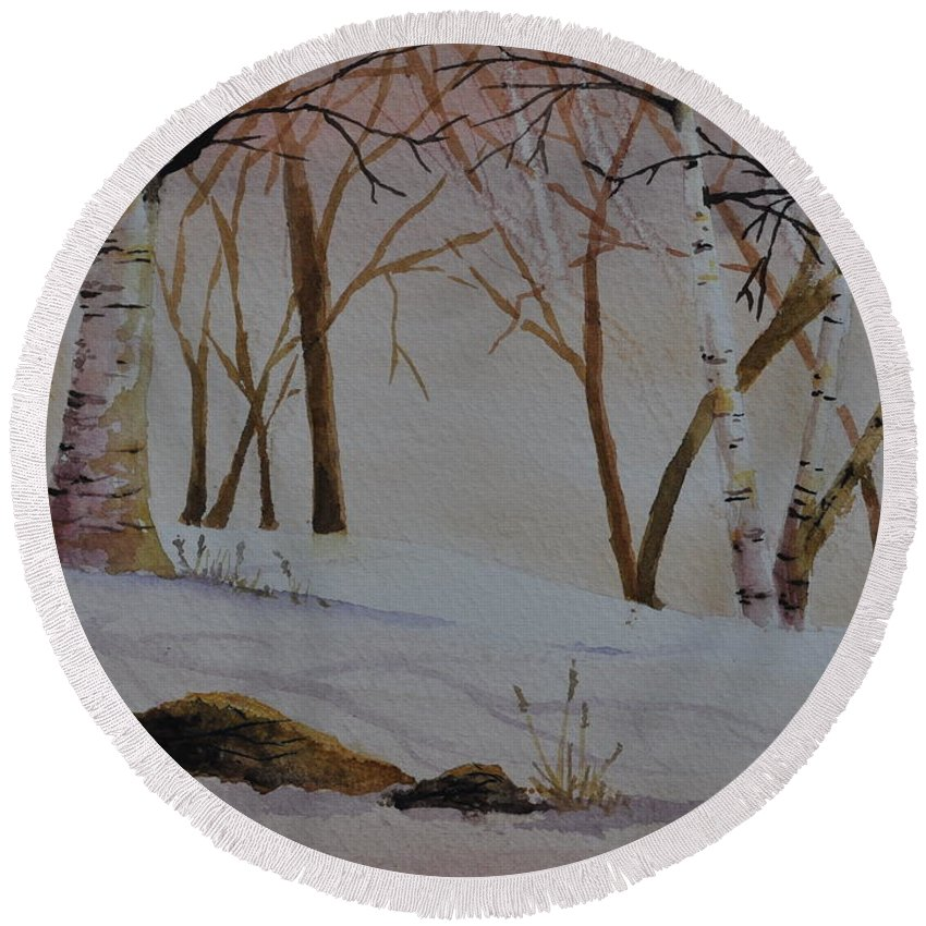 Birches Round Beach Towel featuring the painting Birch Drift by Sally Rice