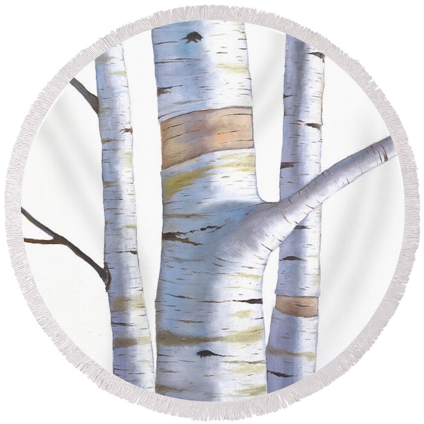 Birch Round Beach Towel featuring the painting Birch Trees In Three by Christopher Shellhammer