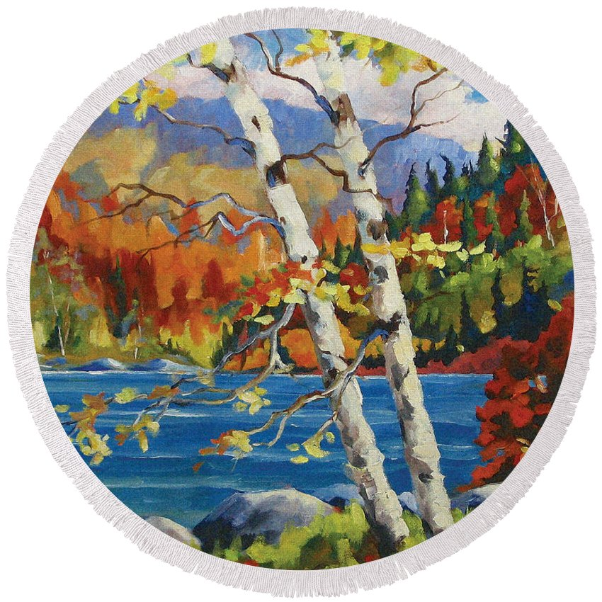 Art Round Beach Towel featuring the painting Birches By The Lake by Richard T Pranke