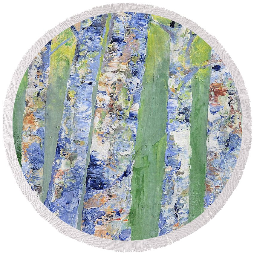 Birch Round Beach Towel featuring the painting Birches by Claire Bull