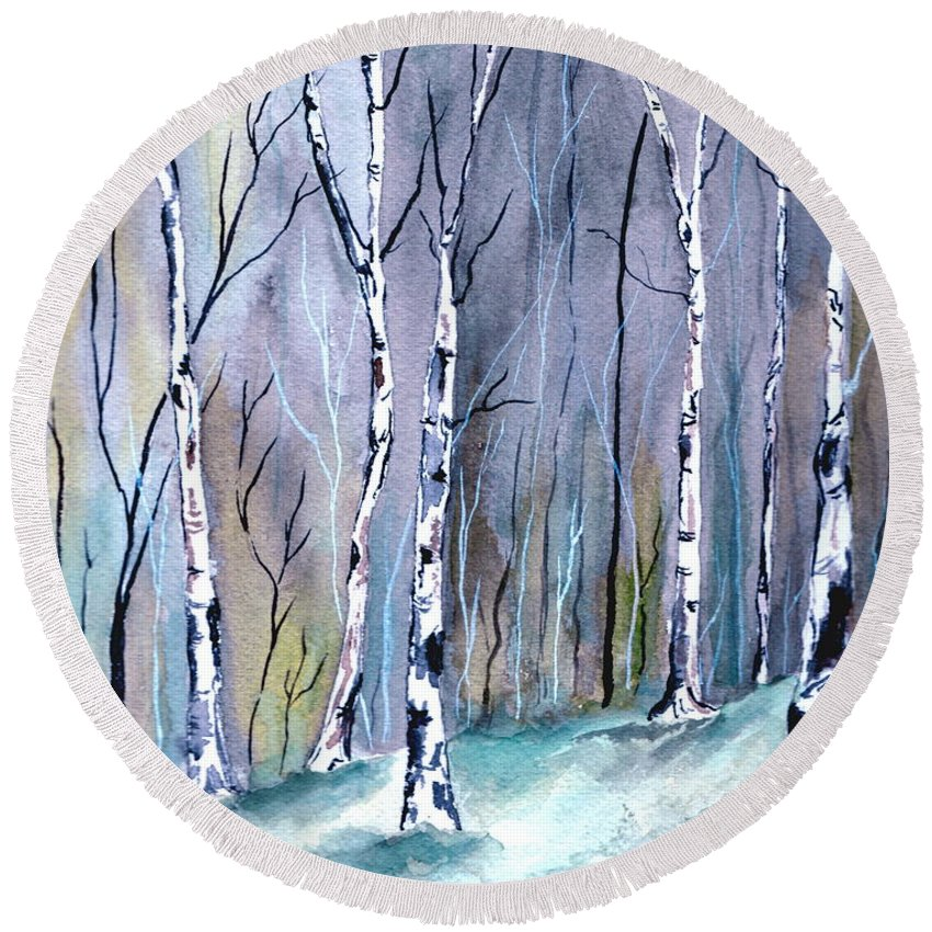 Landscape Round Beach Towel featuring the painting Birches In The Forest by Brenda Owen
