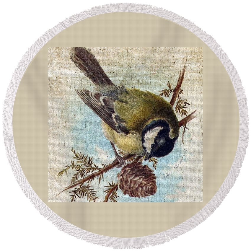 Vintage Round Beach Towel featuring the digital art Bird And Pine Branch by Cassie Peters