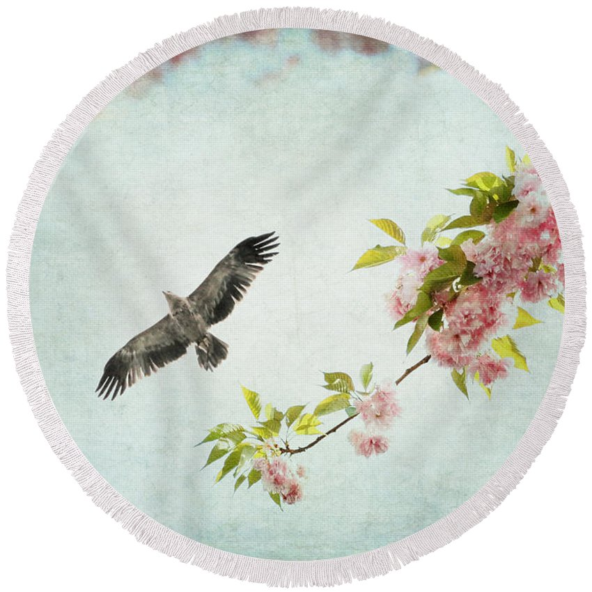 Pastel Round Beach Towel featuring the photograph Bird And Pink And Green Flowering Branch On Blue by Brooke T Ryan