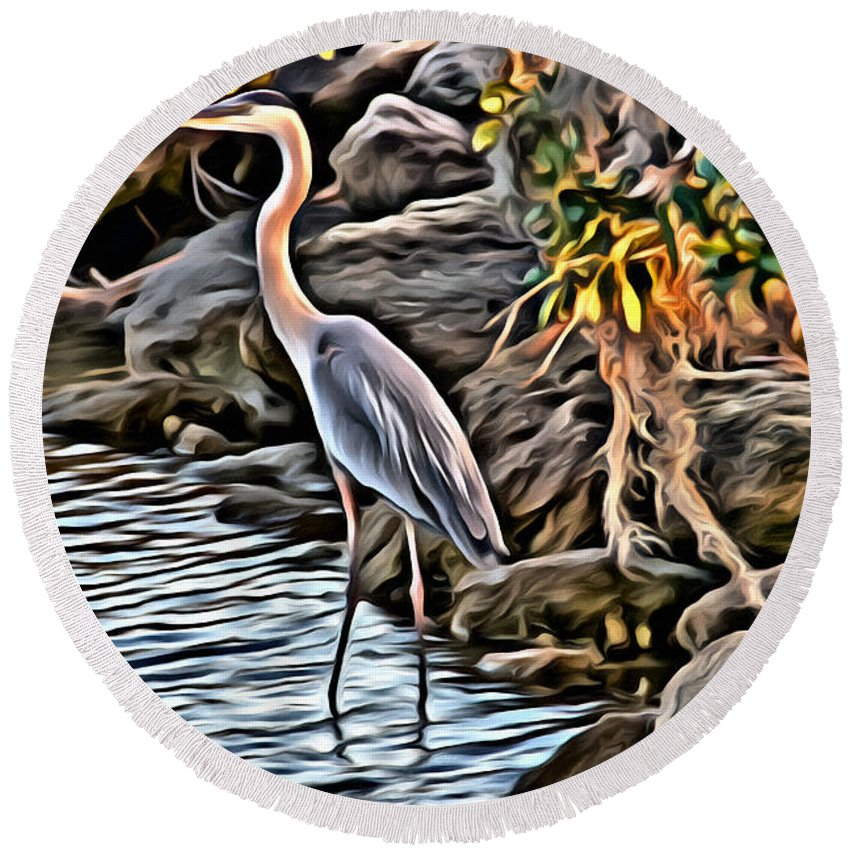 Egret Bird Water Florida Scenic Round Beach Towel featuring the photograph Bird By The Water by Alice Gipson