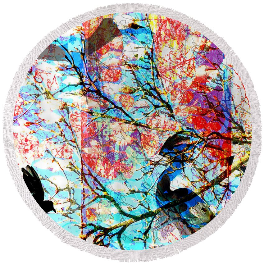 Round Beach Towel featuring the digital art Bird Collage by Cathy Anderson