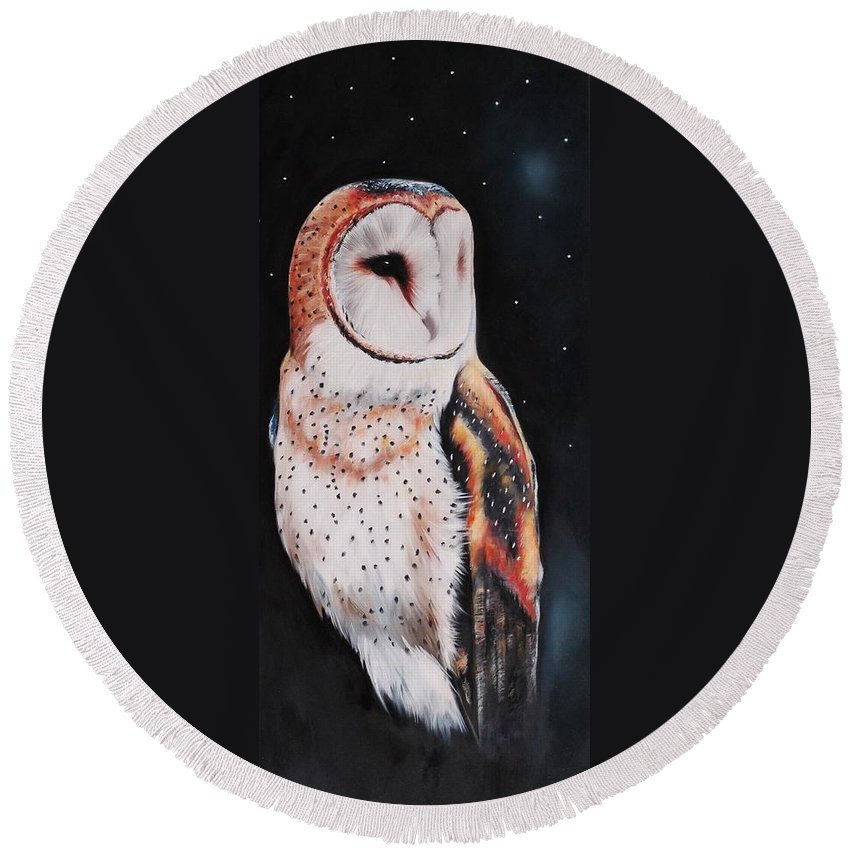 Bird Round Beach Towel featuring the painting Bird N.7 by Rebecca Tecla