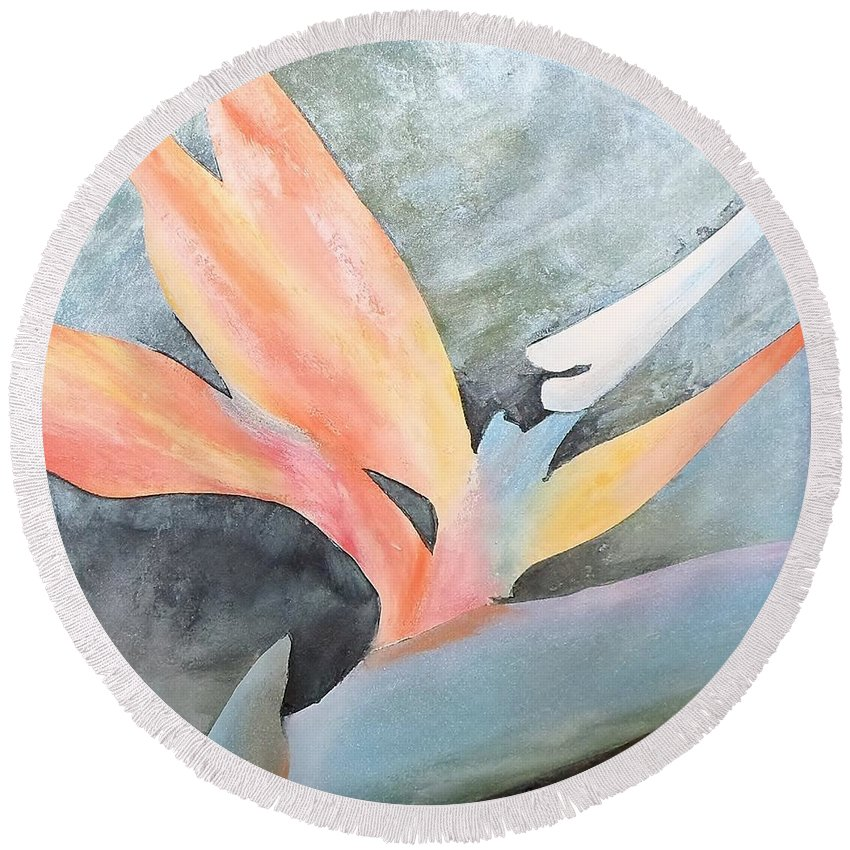 Flower Round Beach Towel featuring the painting Bird Of Paradise 2 by Catherine JN Christopher