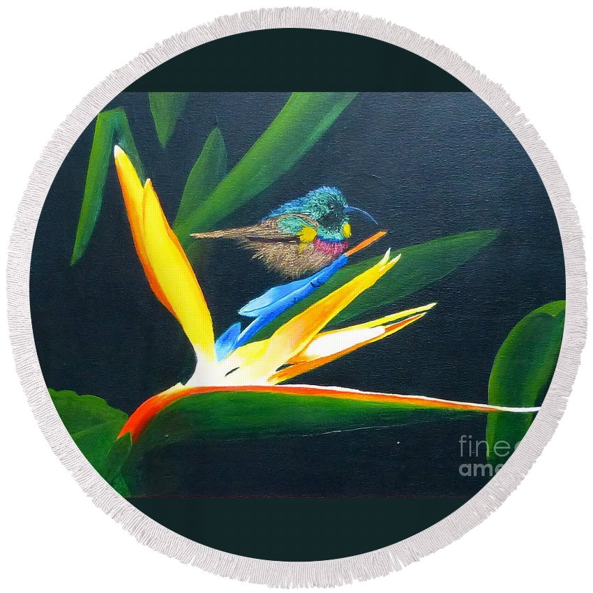 Bird Of Paradise Round Beach Towel featuring the painting Bird Of Paradise by Alicia Fowler