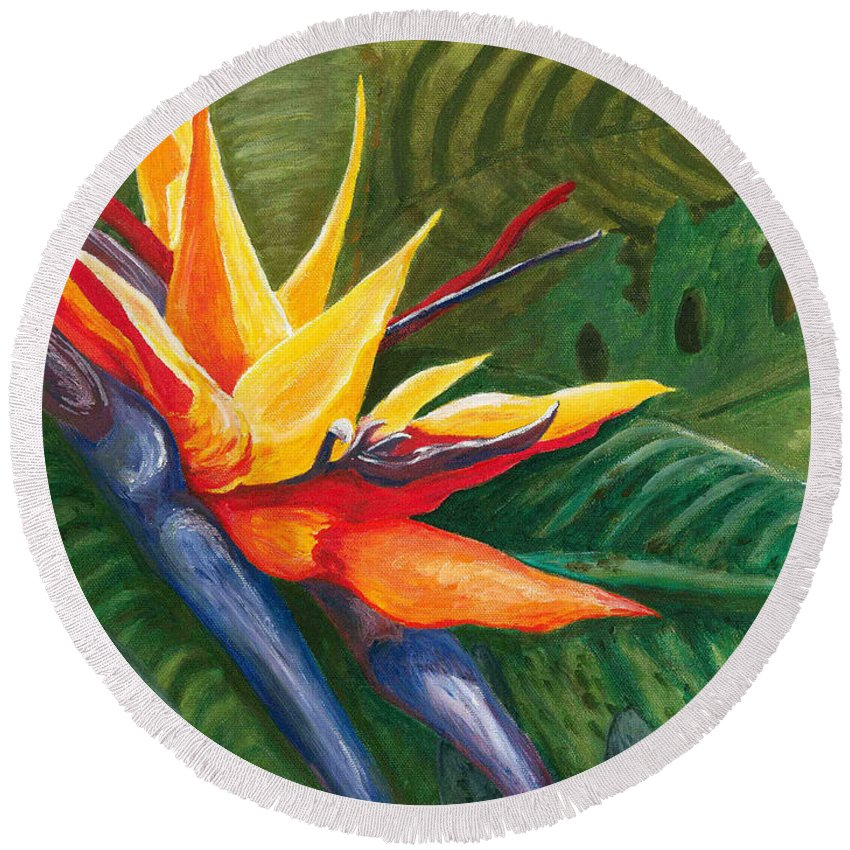 Bird Of Paradise Round Beach Towel featuring the painting Bird Of Paradise by Carlene Salazar