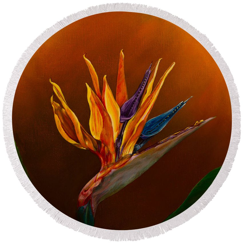 Bird Of Paradise Flower Round Beach Towel featuring the painting Bird Of Paradise by Zina Stromberg