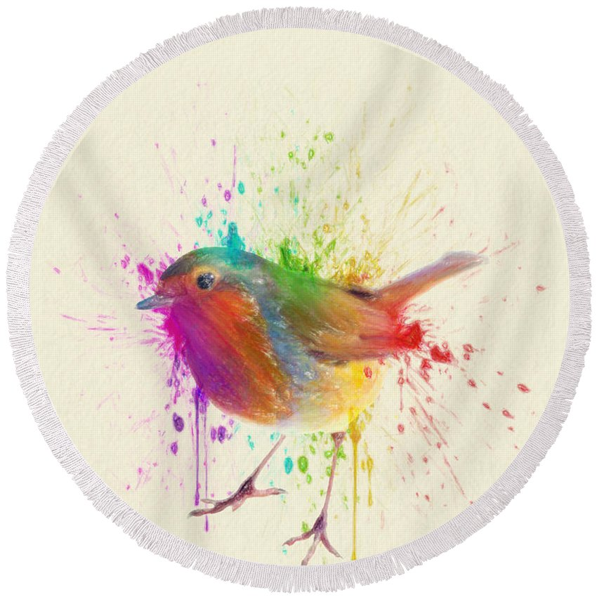 Bird Round Beach Towel featuring the drawing Bird Study by Zapista