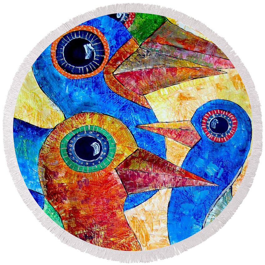 Birds Round Beach Towel featuring the painting Birds 736 - Marucii by Marek Lutek